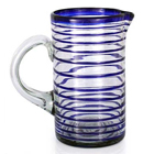 Glass Pitcher - Tall Cobalt Spiral