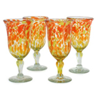 Blown Glass Goblets - Citrus Splash (Set of 4)