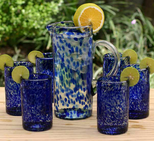 handblown drinking glasses marine set of 6