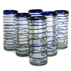 Highball Glasses - Cobalt Spiral (Set of 6)