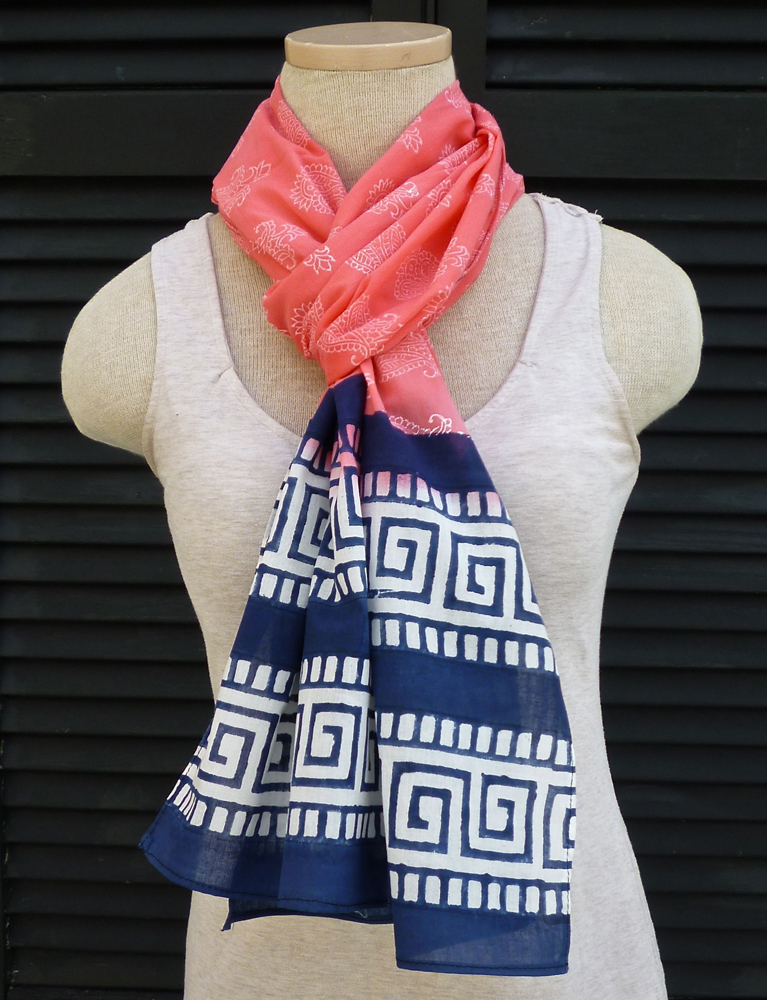 Coral Pink and Key Scarf