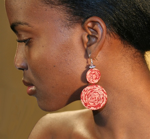 Kalamkari Spiral Earrings India Fair Trade Gifts