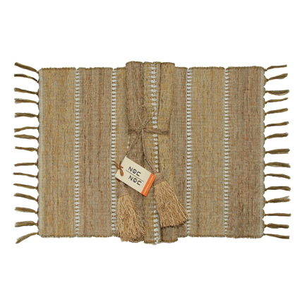 Fig Stripe Vetiver Placemats (Set of 6)