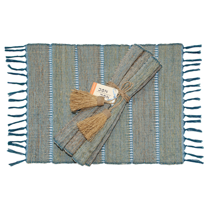 Indigo Stripe Vetiver Placemats (Set of 6)
