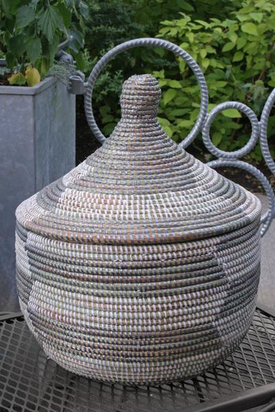 African Lidded Basket Silver Amp White Sen16n 40 00