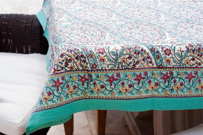 Turquoise Paisley Tablecloths 69 95 Fair Trade Gifts