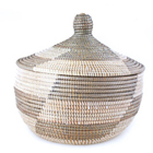 African Lidded Basket - Silver & White