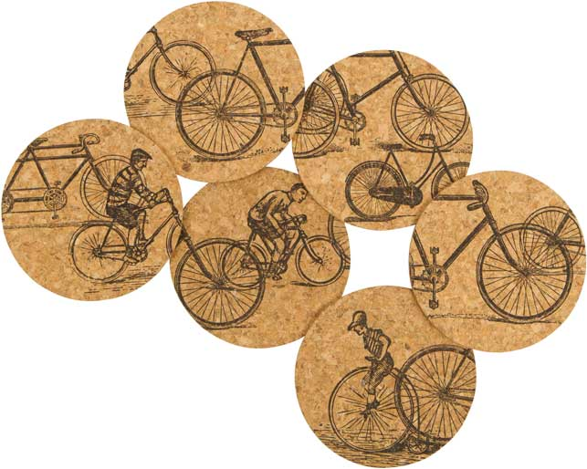 Recycled Cork Coaster Set - Antique Rides