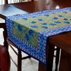Blue Cornflower Block-Print Table Runner