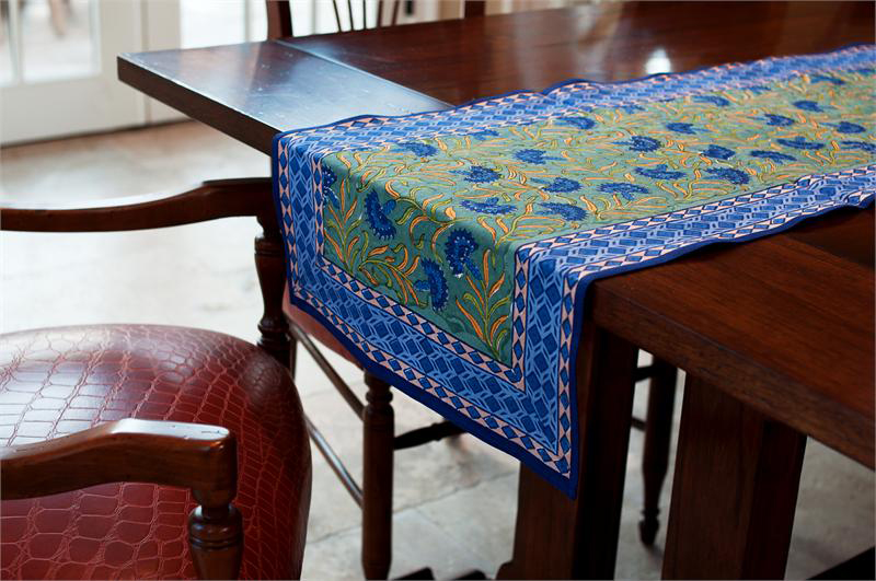 Blue Cornflower Block Print Table Runner R1690bc 24