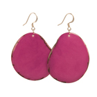 Tagua Chip Earrings - Berry