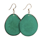 Tagua Chip Earrings - Teal