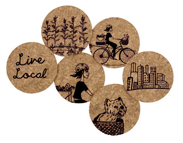 Recycled Cork Coaster Set - Live Local