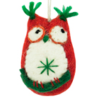 Felt Ornament - Red Crazy Owl