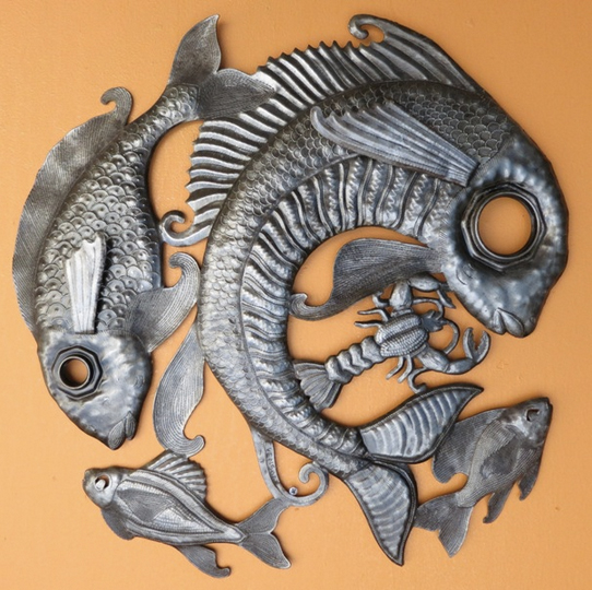 Haitian Oil Drum Wall Art - Fish Lid [RND380] - $89.00 : Fair Trade ...