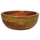 Large Green Stripe Mango Wood Salad Bowl