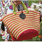 Handmade Kenyan Sisal Shopper in Citrus