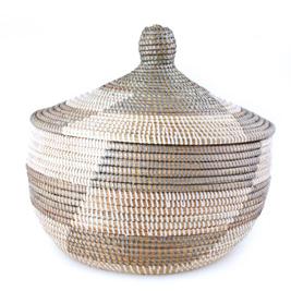 African Lidded Basket Silver Amp White Sen16n 24 00