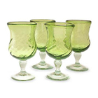 Lime Twist Blown Glass Goblets (Set of 4)