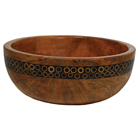 Mango Wood Salad Bowl with Black Bamboo Inlay