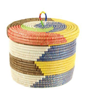 Rainbow Wolof African Basket Fair Trade Gifts Seven