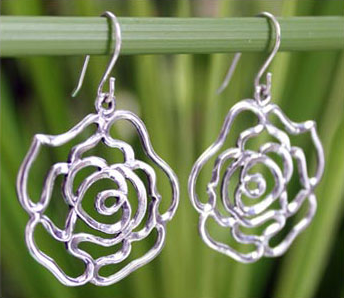 Roses in Love Sterling Silver Earrings