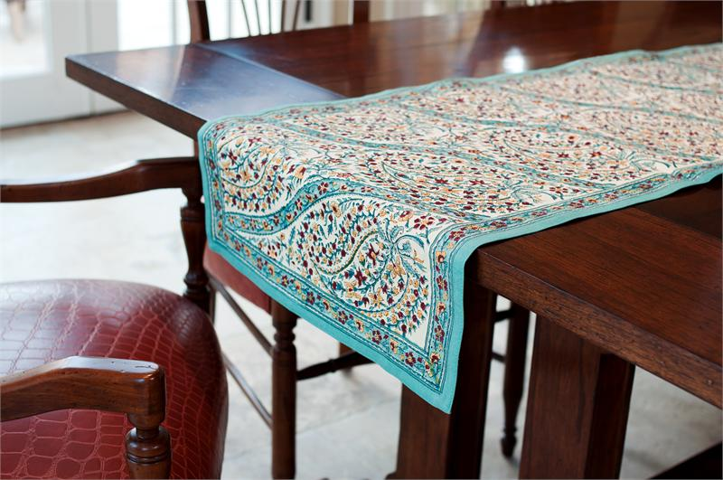 Turquoise Paisley Table Runner 165 40 00 Fair Trade