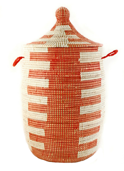 Red Woven Laundry Hamper With Lid Fair Trade Gifts