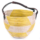 Yellow Herringbone Garden Basket