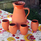 Terracotta Pitcher and Wine Cups