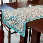 Turquoise Paisley Table Runner