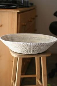 White Wolof Prayer Mat Basket