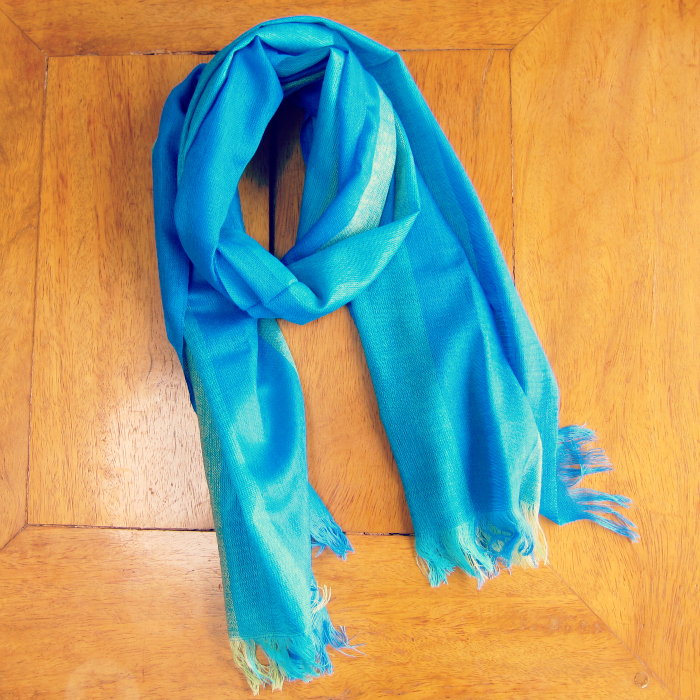 fair trade wedding blue scarf