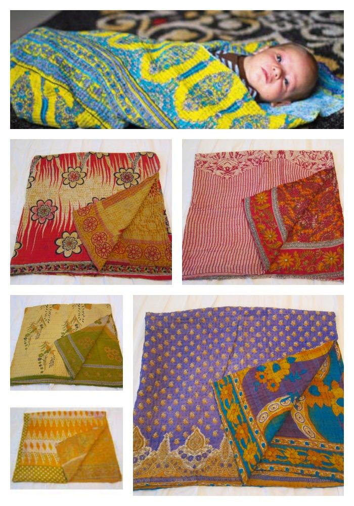 Handmade Sari Baby Blankets